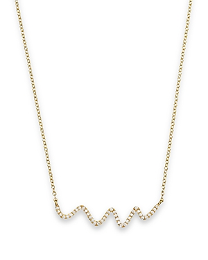 18K Yellow Gold Diamond Squiggle Necklace