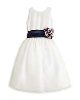 US Angels - Girls' Mix & Match Organza Dress, Sash & Rosebud - Big Kid