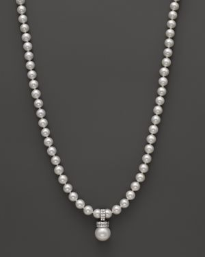 Cultured Freshwater Pearl Pendant Necklace with Diamonds in 14K White Gold, 18 - 100% Exclusive