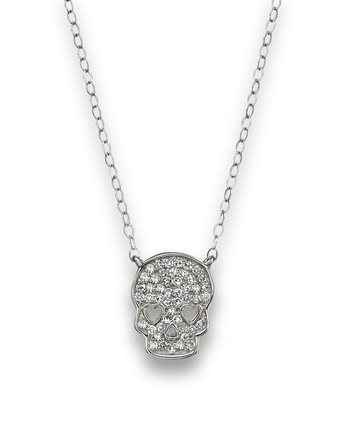Bloomingdale's - Micro Pavé Diamond Skull Pendant Necklace in 14K White Gold, .14 ct. t.w. - 100% Exclusive
