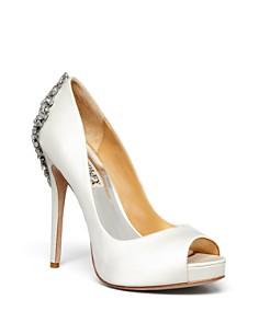 Badgley Mischka - Women's Kiara Peep Toe Satin Platform High-Heel Pumps