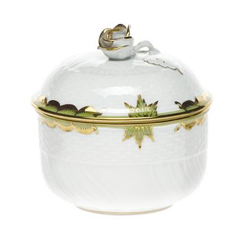 Herend - Princess Victoria Green Covered Sugar Bowl