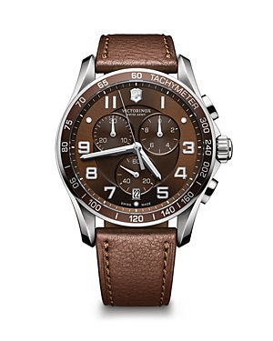 Victorinox Swiss Army Chronograph Classic Brown Leather Strap Watch, 45mm