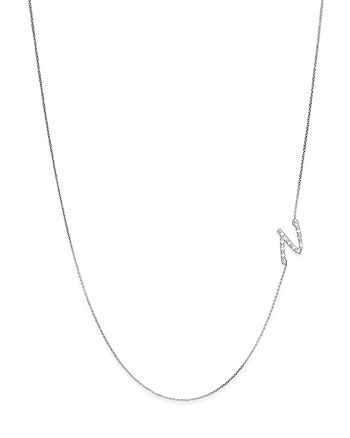 KC Designs - Diamond Side Initial N Necklace in 14K White Gold, .07 ct. t.w.