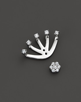 KC Designs - KC Designs Diamond Stud Earring with Jacket in 14K White Gold