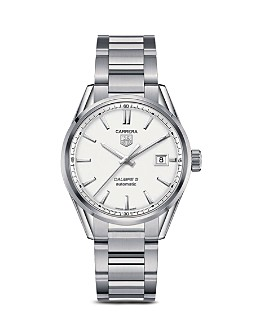 TAG Heuer - TAG Heuer Carrera Calibre 5 Stainless Steel and Silver Dial Watch, 39mm