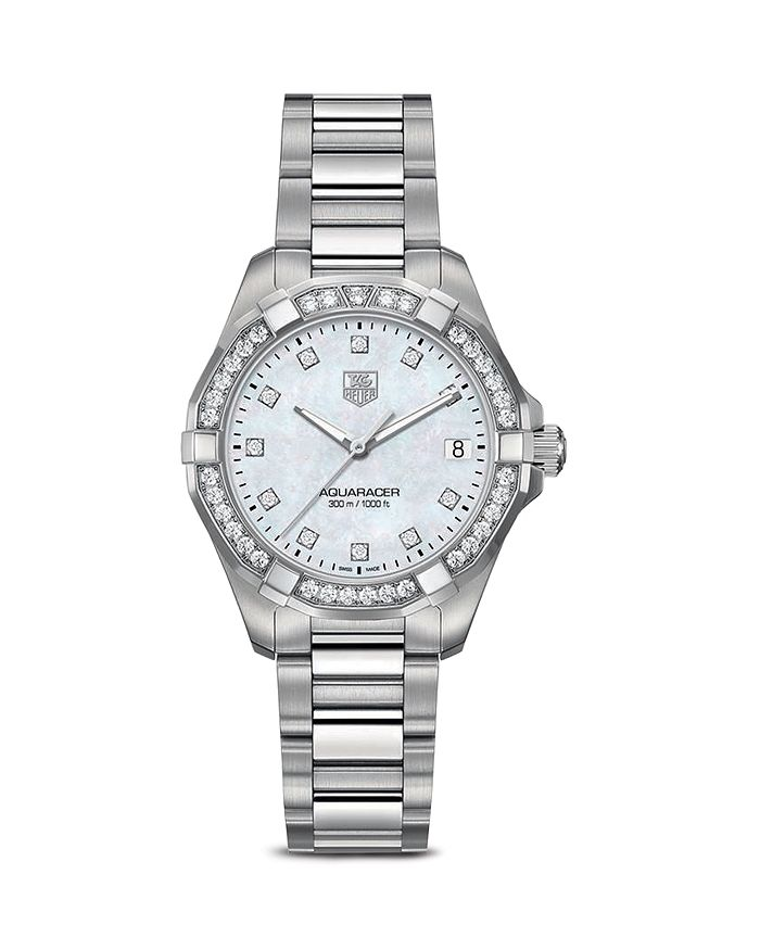 TAG Heuer - Aquaracer 300M Quartz Stainless Steel Watch with Bezel Diamonds, 32mm
