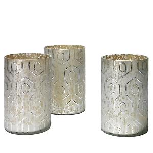 Jamie Young Etched Mercury Glass Deco Hurricanes, Set of 3