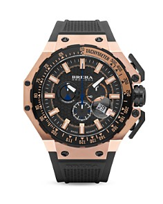 BRERA OROLOGI - Gran Turismo 14K Rose Gold and Black Ionic-Plated Stainless Steel Watch with Black Rubber Strap, 54mm