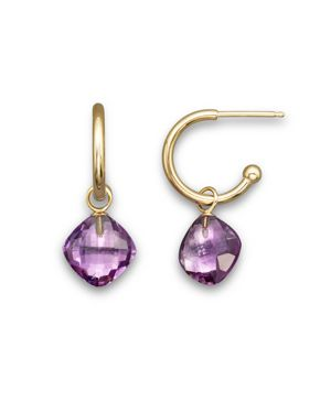 Amethyst Small Hoop Earrings in 14K Yellow Gold - 100% Exclusive