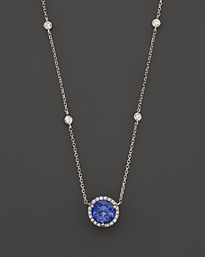 Tanzanite and Diamond Halo Pendant Necklace with 4 Stations in 14K White Gold, 16 - 100% Exclusive