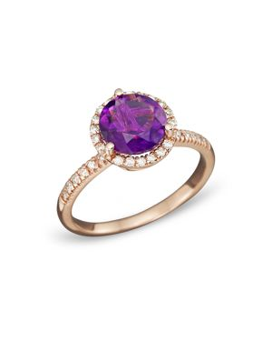 Amethyst and Diamond Halo Ring in 14K Rose Gold - 100% Exclusive