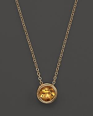 Citrine Bezel Set Pendant Necklace in 14K Yellow Gold, 17 - 100% Exclusive