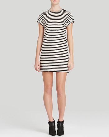 Alice and Olivia - Roll Sleeve Stripe Tunic Dress
