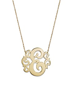 """Jane Basch 14K Yellow Gold Swirly Initial Pendant Necklace, 16"""" - Bloomingdale's_0"""