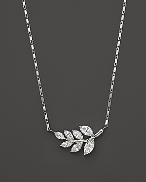 Diamond Leaf Pendant Necklace in 14K White Gold, .70 ct. t.w. - 100% Exclusive