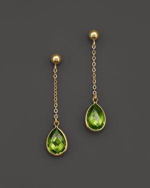 Peridot Drop Earrings in 14K Yellow Gold - 100% Exclusive