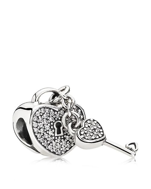 PANDORA - Charm - Sterling Silver & Cubic Zirconia Lock of Love