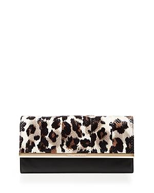 Diane von Furstenberg 100% Exclusive Voyage Leopard Print Snakeskin Clutch