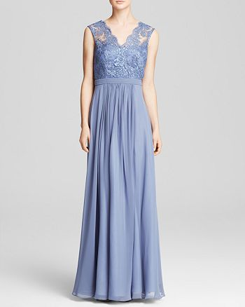 ac43706ed08 JS Collections Gown - Draped Chiffon Lace Overlay Bodice ...