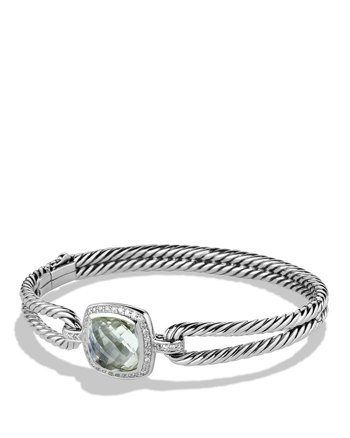 David Yurman Albion Bracelet With Prasiolite And Diamonds In Silver/Green