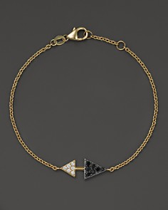 Bloomingdale's - Black and White Diamond Arrowhead Bracelet in 14K Yellow Gold- 100% Exclusive