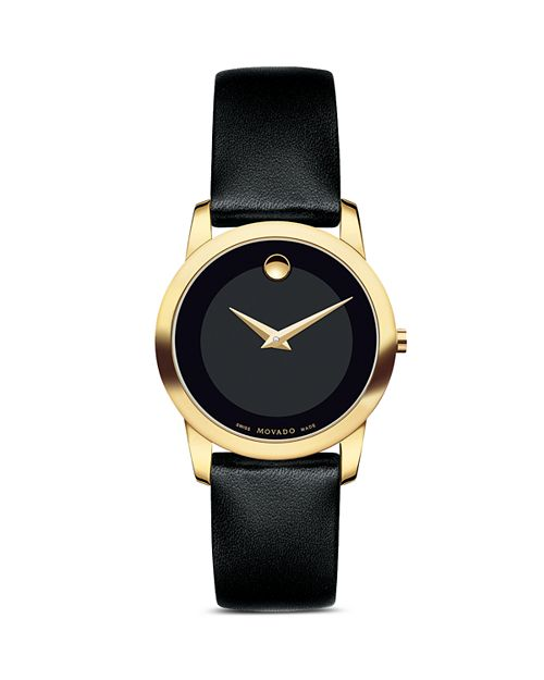 Movado - Museum Classic Watch with Black Calfskin Strap, 28mm