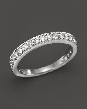 Diamond Milgrain Band Ring n 14K White Gold, .50 ct. t.w. - 100% Exclusive