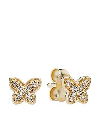 Pandora - Earrings - 14k Gold & Cubic Zirconia Petite Butterfly Studs