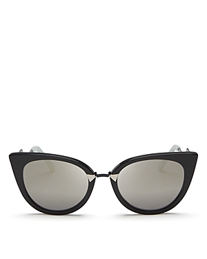 Fendi Mirrored Zigzag Cat Eye Sunglasses, 52mm