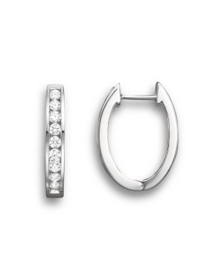 Diamond Channel Set Hoop Earrings In 14K White Gold, .45 Ct. T.W.