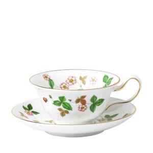 Wedgwood Wild Strawberry Peony Teacup & Saucer