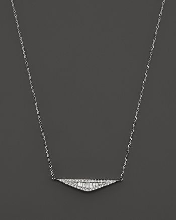 Bloomingdale's - Diamond and Baguette Pendant Necklace in 14K White Gold, .20 ct. t.w.- 100% Exclusive