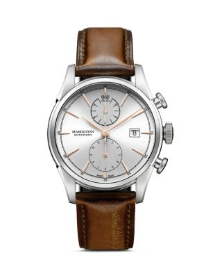 HAMILTON American Classic Automatic Chronograph Leather Strap Watch, 42Mm in Brown/ Silver
