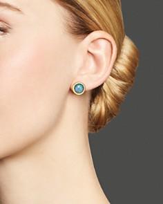 Bloomingdale's - Black Opal Bezel Set Stud Earrings in 14K Yellow Gold- 100% Exclusive