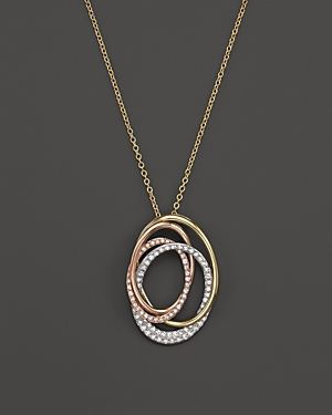 Diamond Circles Pendant Necklace in 14K White, Yellow and Rose Gold, .40 ct. t.w.