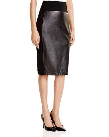 Calvin Klein - Faux Leather Pencil Skirt