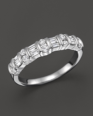 Diamond and Baguette Band Ring in 14K White Gold, .50 ct. t.w. - 100% Exclusive