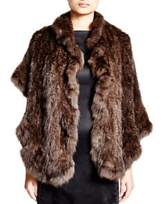 Maximilian Knitted Sable Stole with Ruffled Trim - 100% Exclusive - Bloomingdale's_0