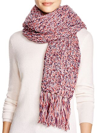 AQUA - Chunky Knit Scarf with Fringe - 100% Exclusive