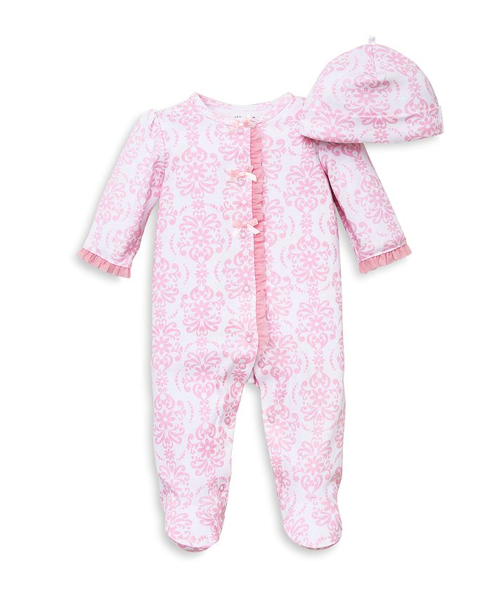 Little Me - Girls' Damask Print Footie & Hat Set - Baby