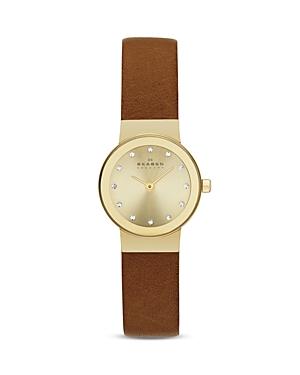 Skagen Freja Leather Strap Watch, 22mm