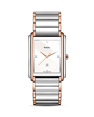 Rado Integral Quartz Stainless Steel and Rose Gold Pvd Watch with Diamonds, 40.1mm