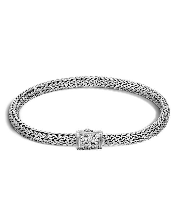 JOHN HARDY - Classic Chain Sterling Silver Extra Small Bracelet with Diamond Pavé