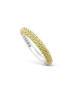 LAGOS - LAGOS Sterling Silver and 18K Gold Caviar Beaded Stacking Ring