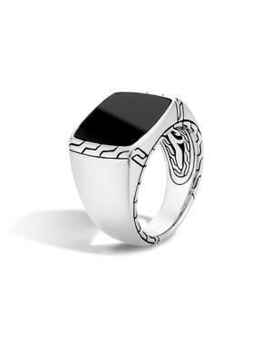 John Hardy Batu Classic Chain Sterling Silver Signet Ring with Black Jade