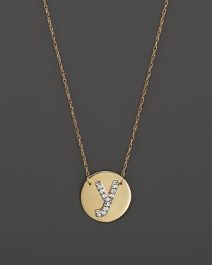 Jane Basch 14K Yellow Gold Circle Disc Pendant Necklace with Diamond Initial, 16