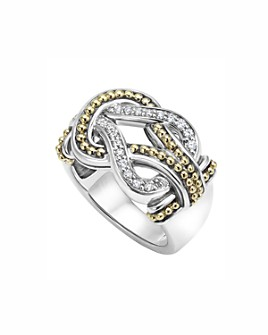 LAGOS - LAGOS Sterling Silver and 18K Gold Newport Diamond Ring
