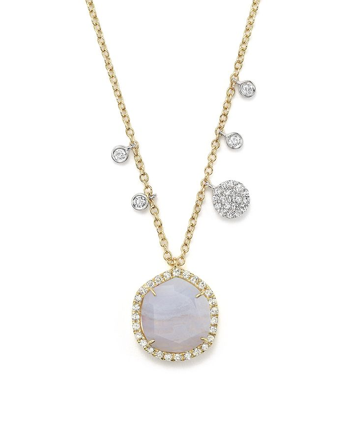 """Meira T - 14K Yellow Gold Blue Lace Chalcedony Necklace, 16"""""""