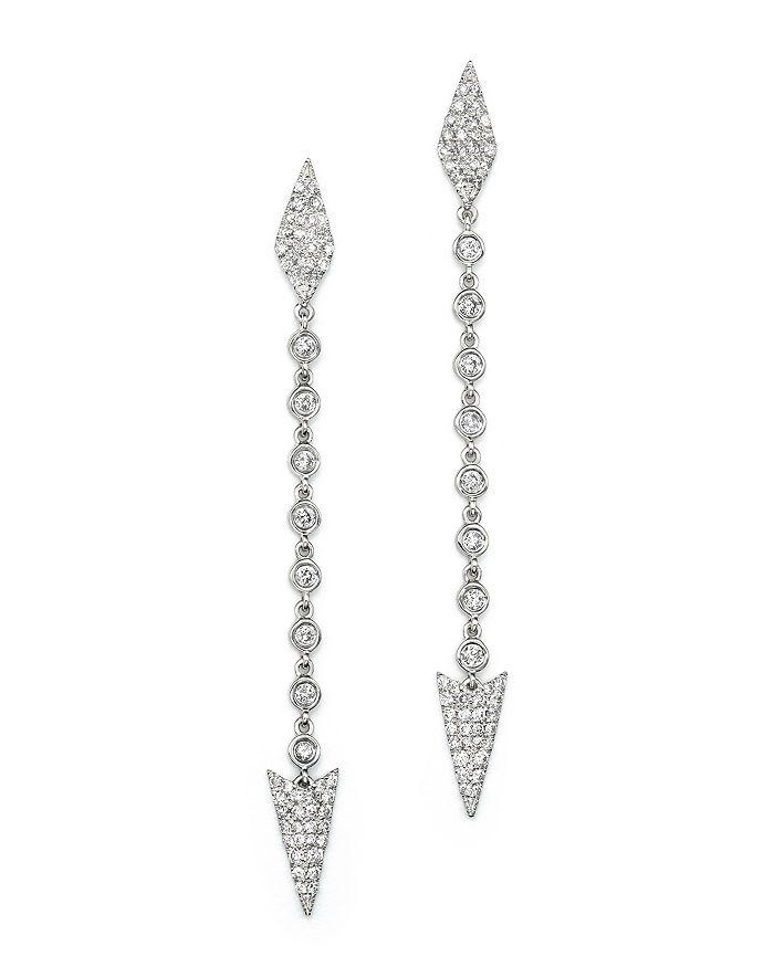 Meira T - 14K White Gold Diamond Arrow Drop Earrings